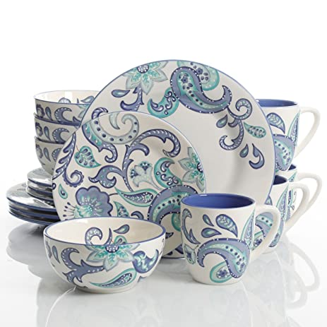 Laurie Gates Roxanna 16 Piece Dinnerware Set Blue Floral  sc 1 st  Amazon.com & Amazon.com | Laurie Gates Roxanna 16 Piece Dinnerware Set Blue ...