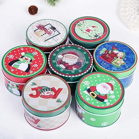 Handfly Caja de Lata de Navidad Caja Caja de Dulces Caja de la Vela Caja de Lata de Metal Latas vacías para los favores y Regalos de Fiesta de Chrismas-Color Aleatorio(1 pc):