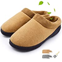 YOUKADA House Slippers for Men Memory Foam, Felt Sandal w/Plush Collar, Anti-Slip Cotton Shoes Indoor&Outdoor, Male Fuzzy Slippers Hard Sole