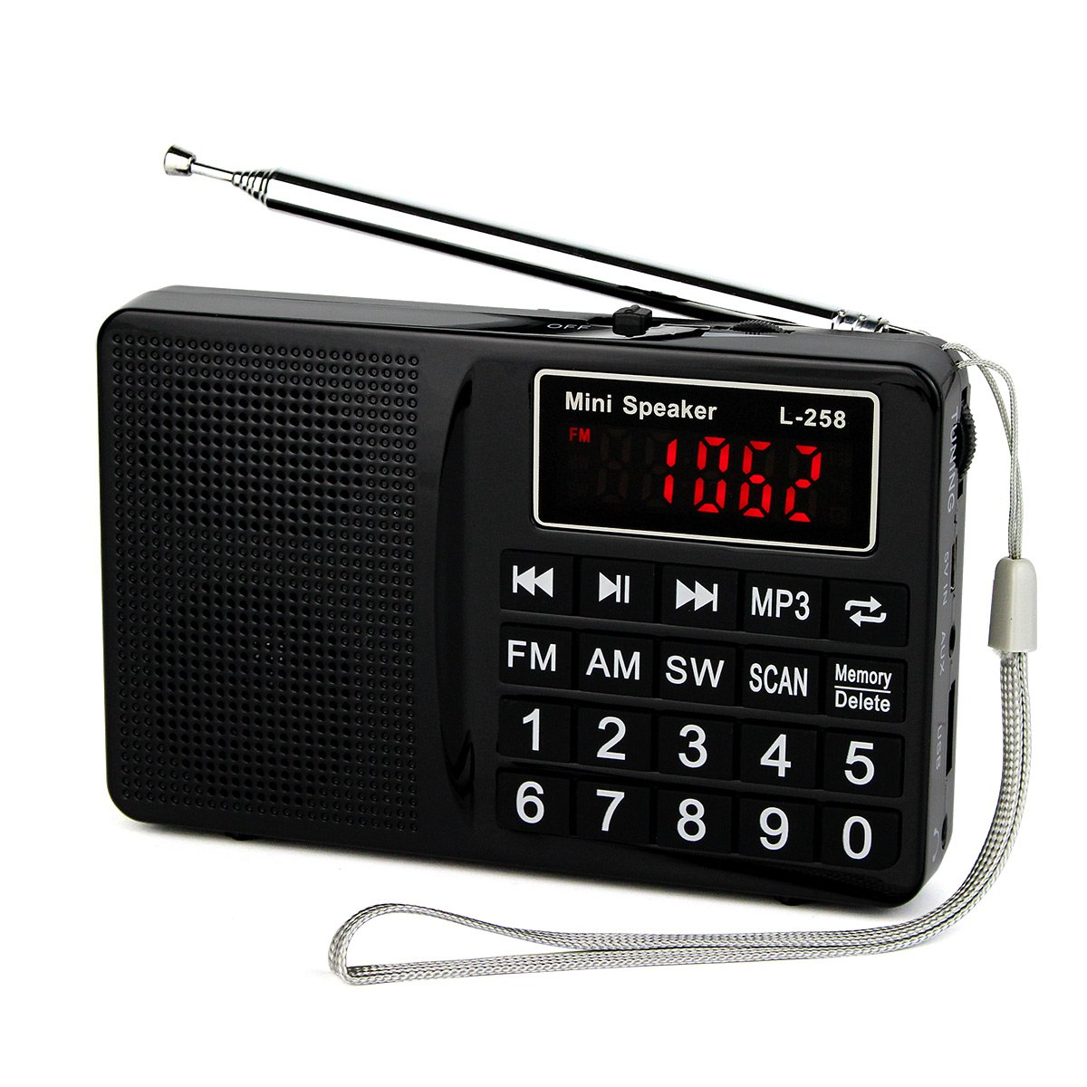 TIVDIO L-258 Portable Digital Shortwave Transistor Radio with AM FM Micro-SD Card AUX Input MP3 Player Speaker(Black)