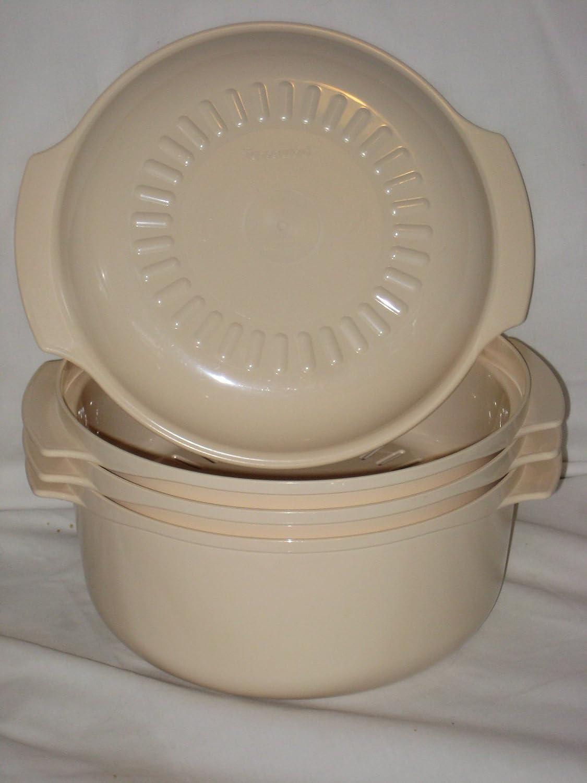 4 Piece Set - Vintage Almond Tupperware Hard Plastic Microwave 3 Liter Pot, 1.75 Liter Pot, Steamer Insert & Lid USA