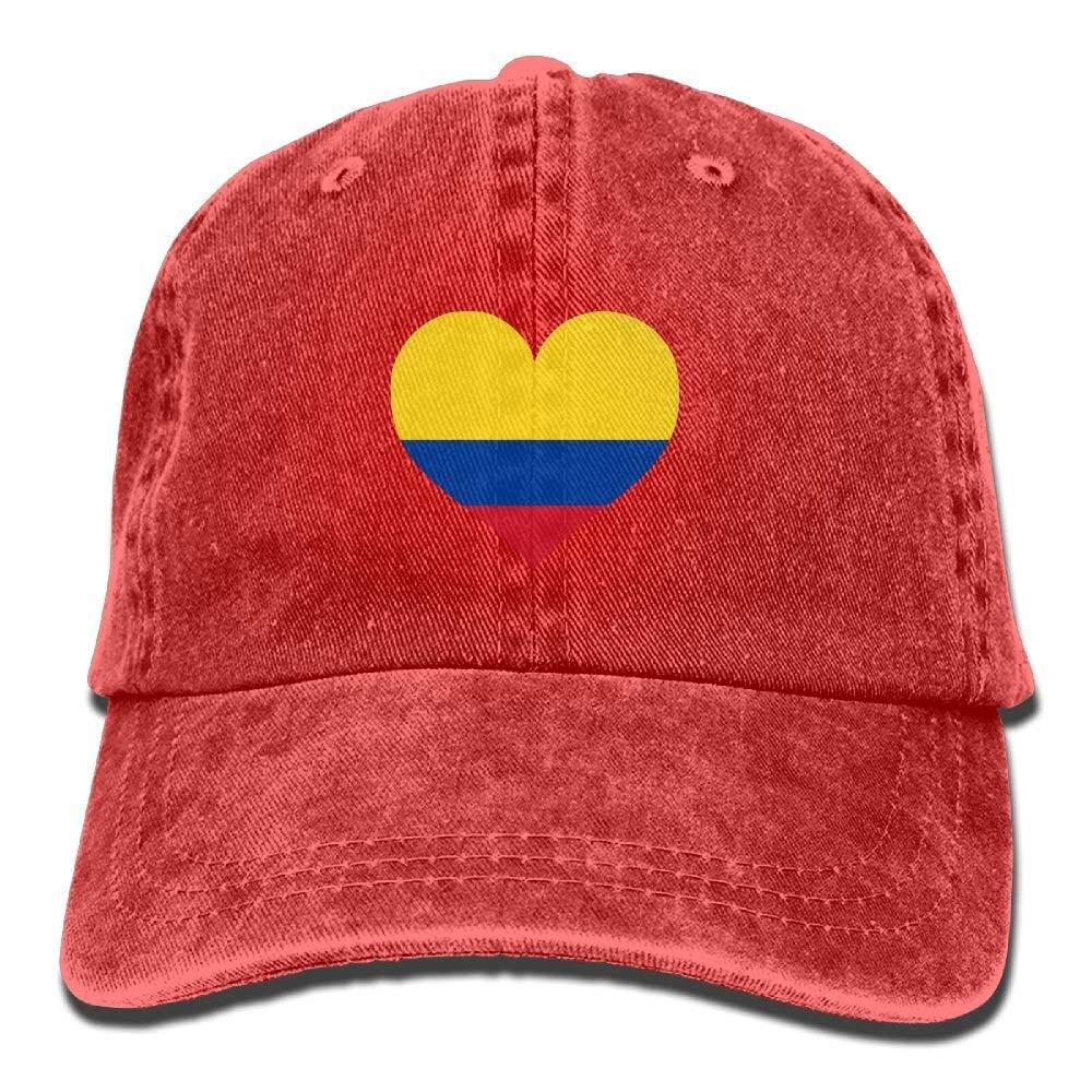 Holefg3b Vintage Jeans Baseball Cap Colombia Flag Love Heart Polo ...