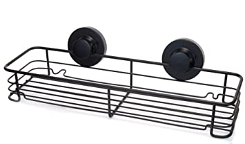 geckoloc black shower shelf basket caddy w suction cups rustproof stainless steel for your