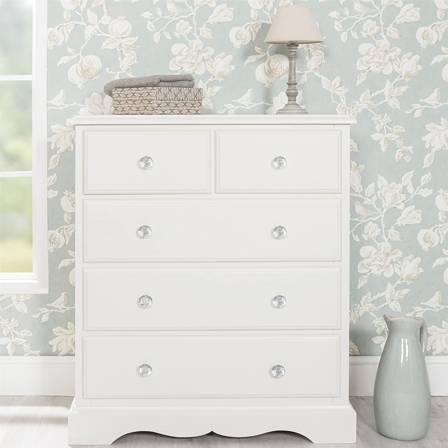 Romance Large chest of drawers with crystal handles. 2 over 3 French Chest of Drawers. FULLY ASSEMBLED Antique White