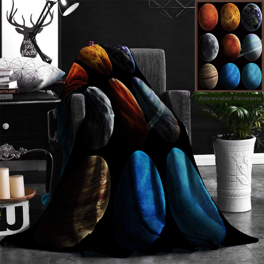 """Unique Custom Flannel Blankets Solar System And Space Objects Elements Of This Image Furnished By Nasa Super Soft Blanketry for Bed Couch, Twin Size 60"""" x 70"""""""