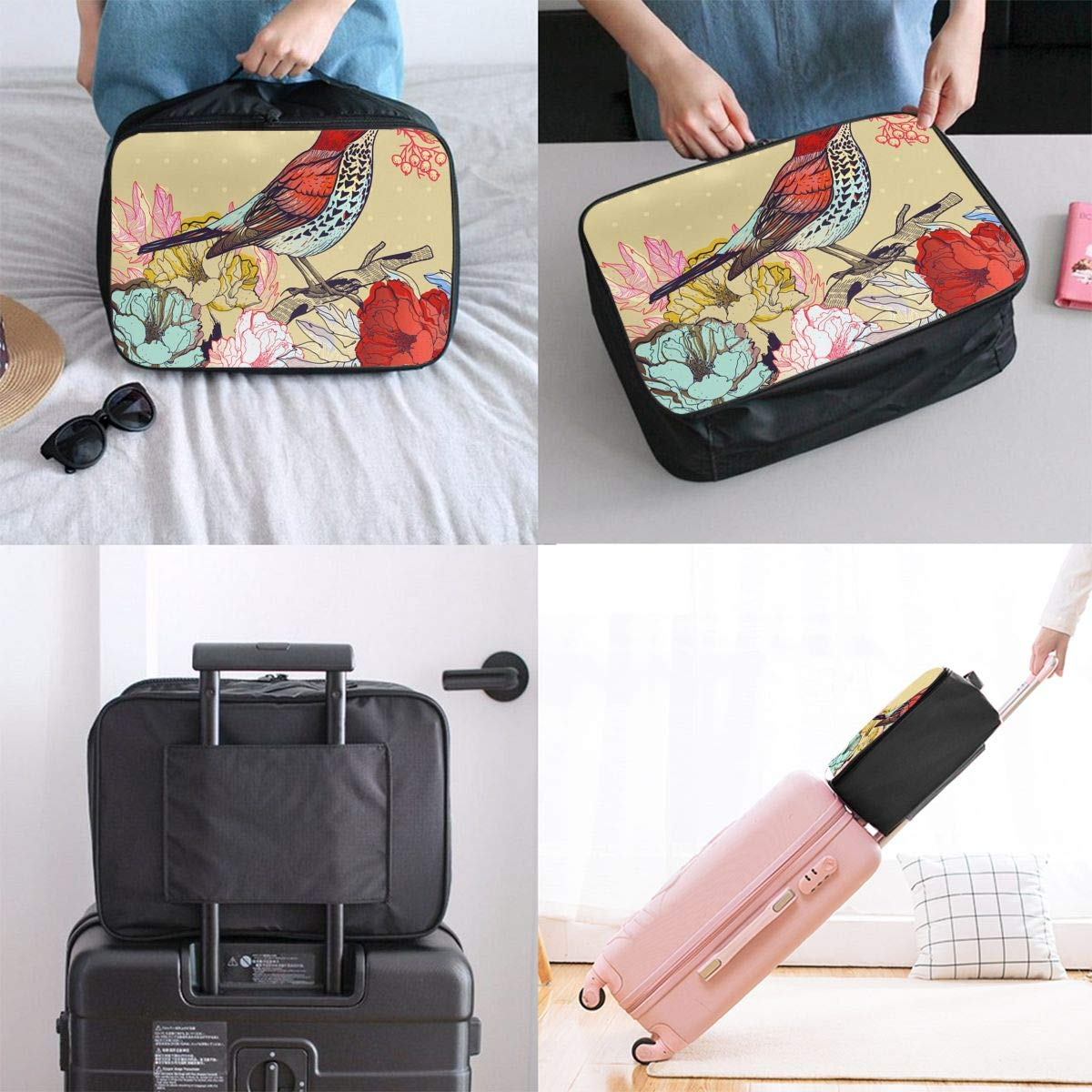 Travel Luggage Duffle Bag Lightweight Portable Handbag Floral Bird Print Large Capacity Waterproof Foldable Storage Tote