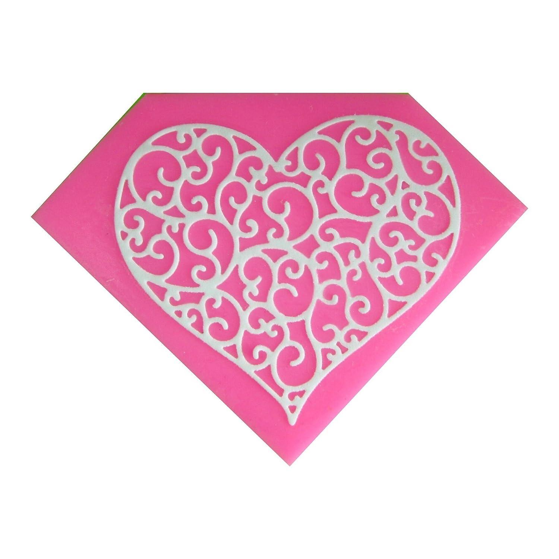 Embossing corazón en forma de filigrana Molde de silicona para la torta de Decoración Pastel de Cupcake Toppers Glaseado Sugarcraft Tool por Fairie ...