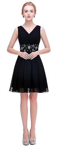esvor V-Neck Short Prom Party Bridesmaid Dress With Beaded Waist