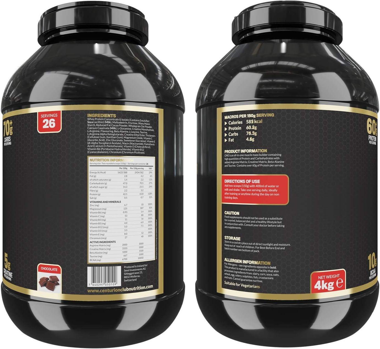 Centurion Club Nutrition ONE Suplemento Todo-en-Uno de Proteína Magra en Polvo y Ganador de Masa Muscular - 4kg (26 porciones), Vainilla