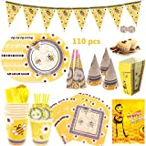 Bee Happy Birthday Supplies, DreamJ 110Pack Bee Disposable Tableware Set with Little Bee Plates Cups Straws Napkins Happy Bir