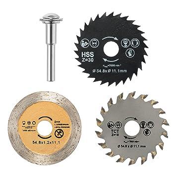 JTENG 3pcs discos de corte 54.8mm Mini discos HSS Sierra circular para herramientas rotativas de metal y Dremel Apto para madera, plástico, fibra de ...