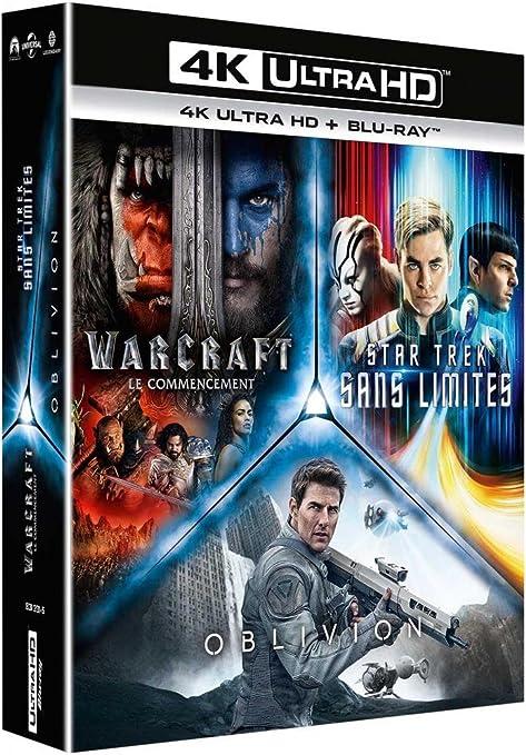 Coffret science-fiction 3 films : star trek sans limites ; warcraft, le commencement ; oblivion 4k ultra hd [FR Import]