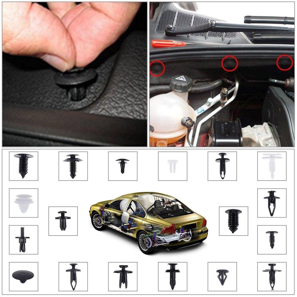 Rovtop 415 Pcs Car Retainer Clips Plastic Fasteners Kit Bumper Push Clips 18 Sizes Door Trim Panel Clips