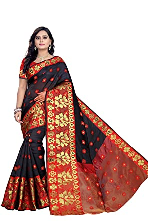 e9e3929538aa72 BELLUXA Women s Banarasi Silk Saree with Blouse Piece (Black   Red)   Amazon.in  Clothing   Accessories