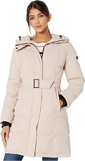 Amazon Com Sam Edelman Hooded Belted 3 4 Puffer Clothing