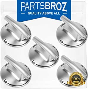 74007733 (5-Pack) Cooktop Knobs for Whirlpool Stoves by PartsBroz - Replaces Part Numbers WP7733P410-60, AP6011505, 7733P410-60, PS11744702, WP7733P410-60VP