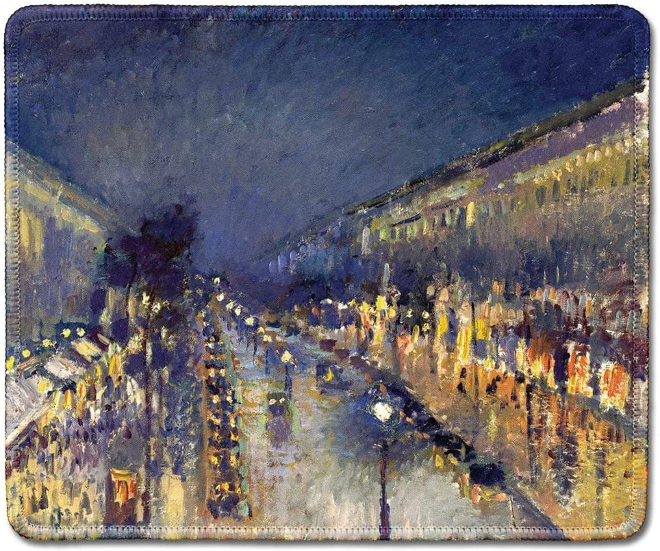 Natural Rubber Mouse Pad with Famous Fine Art Painting of The Boulevard Montmartre at Night by Camille Pissarro Art Mousepad 9.5x7.9 Inches 11.8-inch by 9.85-inch Stitched Edges