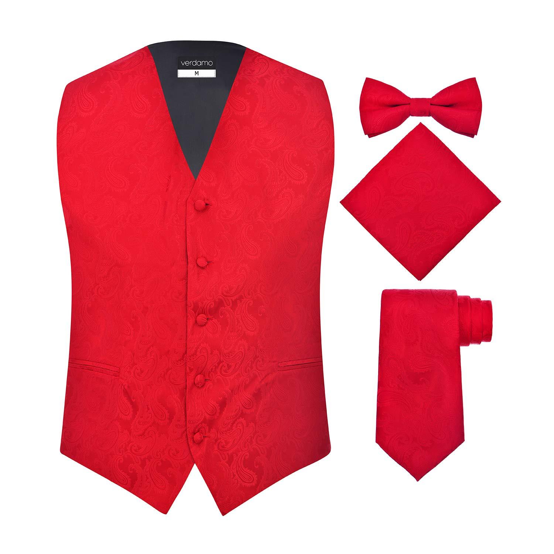 Men's 4 Piece Paisley Vest Set, with Bow Tie, Neck Tie & Pocket Hankie PSLY