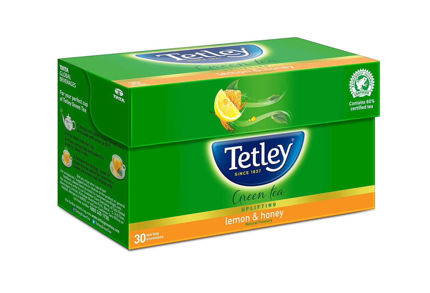 Tetley Green Tea, Lemon & Honey, 30 Tea Bags: Amazon.in: Grocery & Gourmet Foods