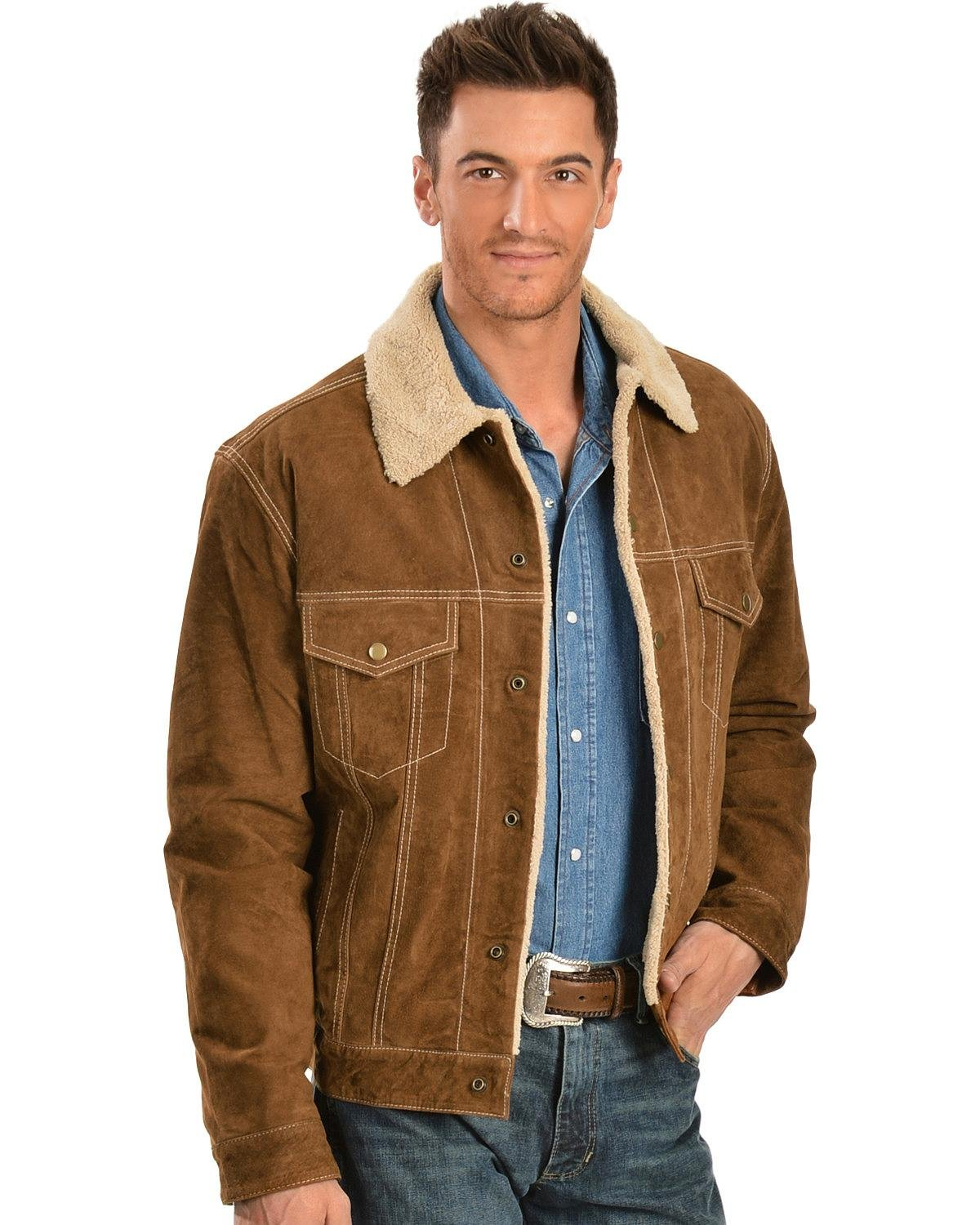 Scully Men's 113 Suede Jacket, Cafe Brown, XL
