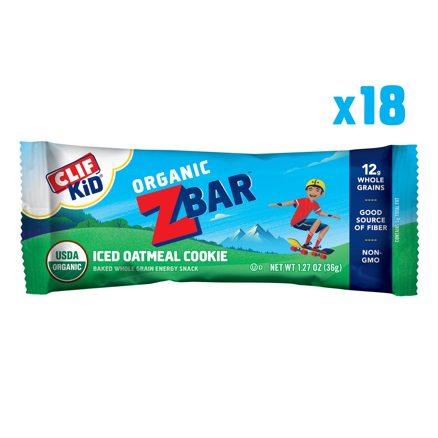CLIF KID ZBAR - Organic Energy Bar - Iced Oatmeal Cookie - (1.27 Ounce Snack Bar, 18 Count)