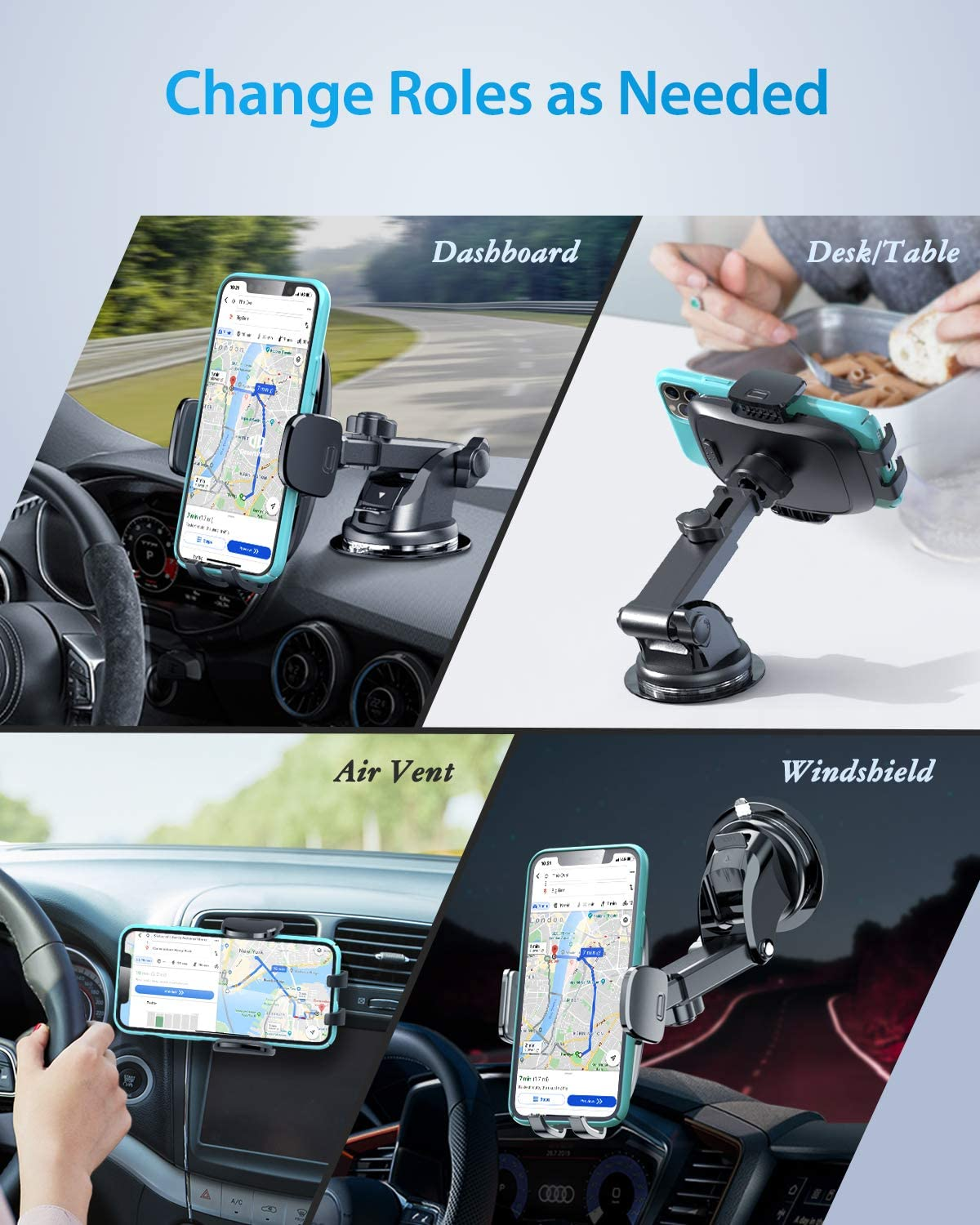 Protection Upgrade Compatible with iPhone 12 SE 11 Pro Max XR XS X Samsung Galaxy Note 20 S20 S10 S9 DesertWest Universal Car Phone Mount, Cell Phone Holder Stand for Dashboard Windshield Air Vent