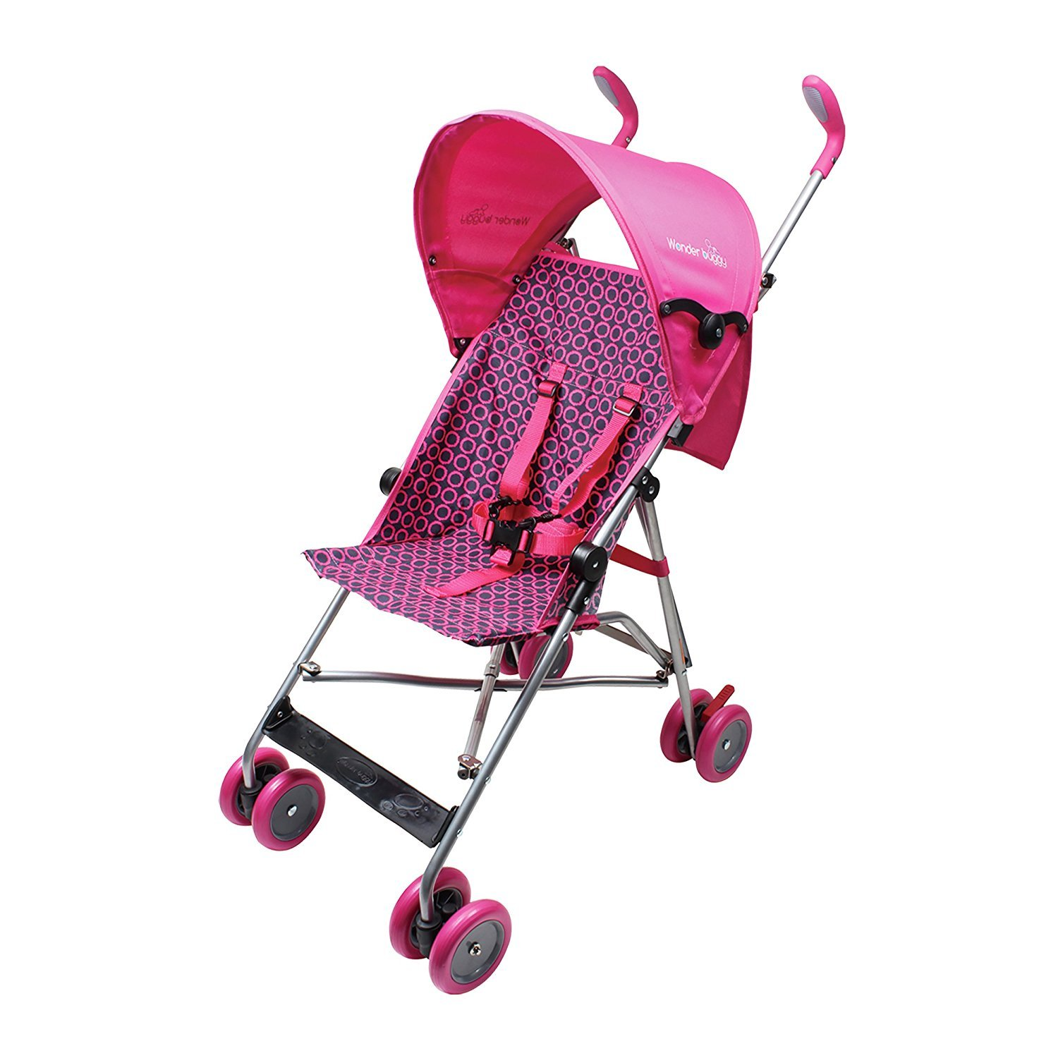 Wonder Buggy Skyler Jumbo Umbrella Stroller with Round Canopy & Mesh Compartment, Pink, One Size