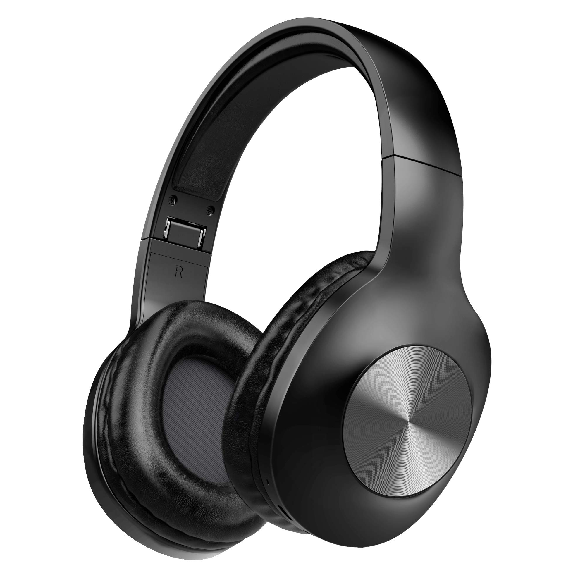 Bluetooth Headphones, Letscom Wireless Headphones Over Ear with Hi-Fi Sound Mic Deep Bass, 100 Hours Playtime and Soft Memory Protein Earpads for Travel Work TV PC Cellphone - Black by LETSCOM