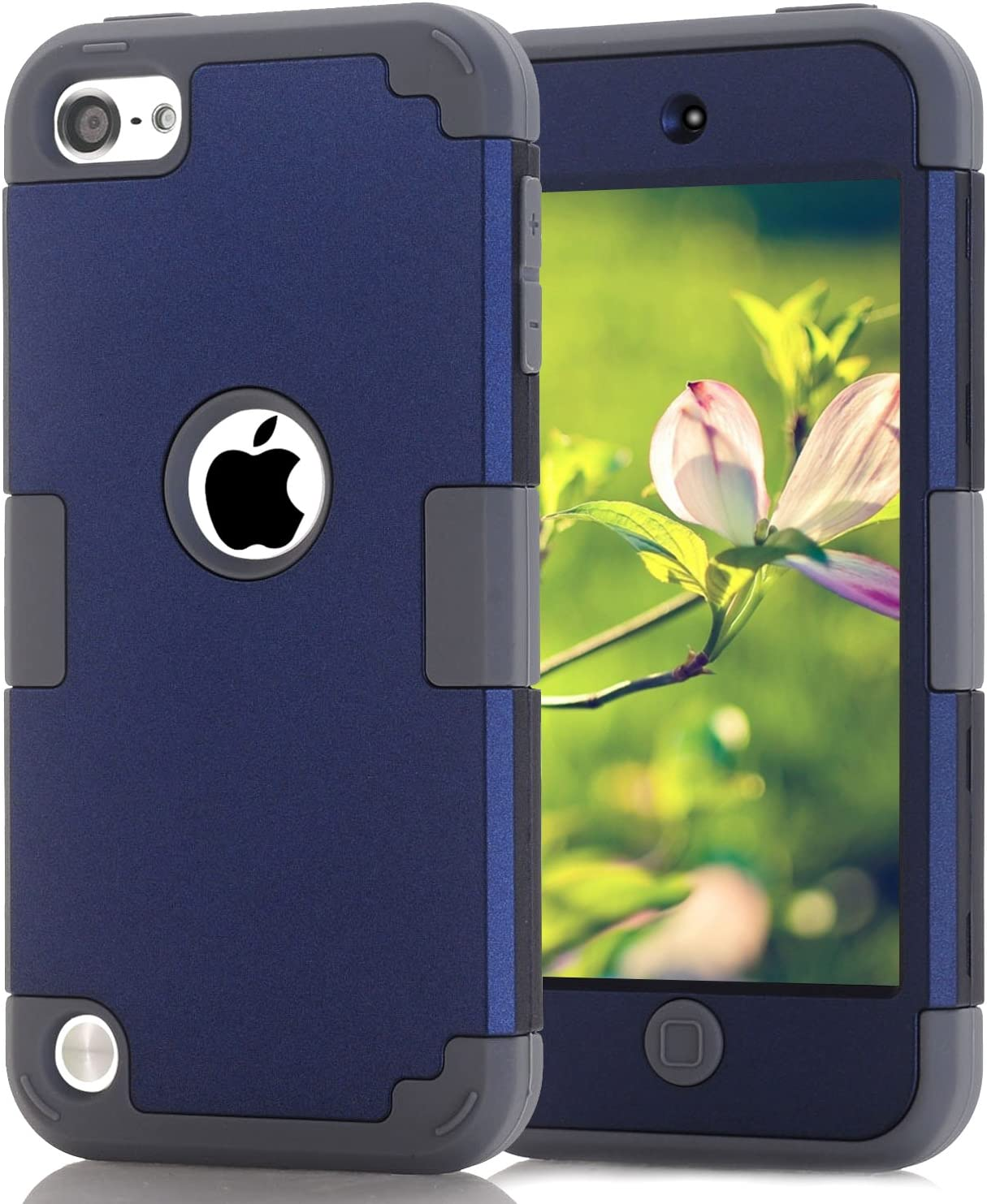 Case for iPod 7 6 5- CheerShare iPod Touch 5 6 7 Case, The Best Silicone Shockproof High Impact Layered Case + Protective Cover Case for iPod Touch 7th 6th 5th Generation(Dark Blue + Gray)