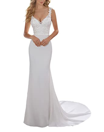 afc6f55f8c Women s Mermaid Lace Beach Bridal Dress Ivory Simple Long Formal Wedding  Dress US2