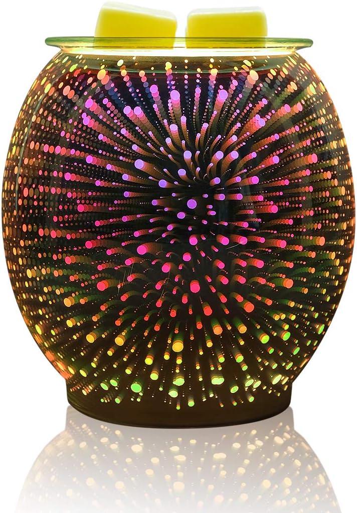 Bobolyn Glass Electric Oil Burner Wax Melt Burner Warmer Melter Fragrance Oil Burner for Home Office Bedroom Living Room Gifts (3D Fireworks) (3D Fireworks-Jar)