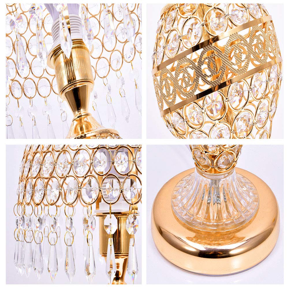 SXFYWYM Tischlampe Kristall Tischlampen Schlafzimmer Nachtlicht Nachtlichter E27 mit Doppeltastenschalter-Haushaltsbeleuchtung,Gold,25x48cm