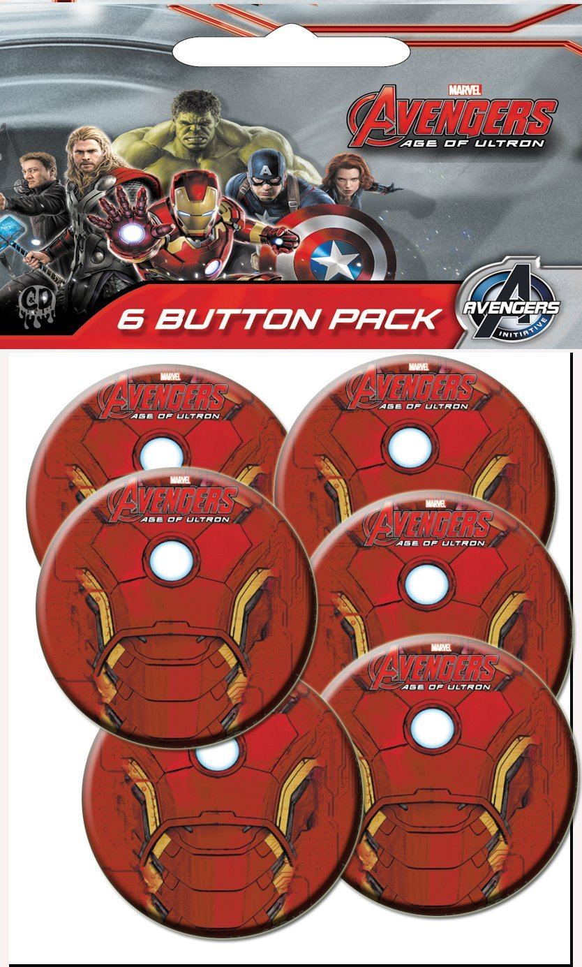 C D Visionary The Avengers 2 Movie Age of Ultron Iron Man Chest Prepack Buttons 6 Piece 1.25