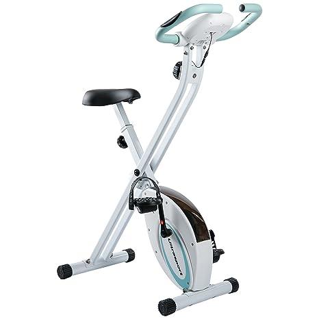 Ultrasport F-Bike, bicicleta estática, aparato doméstico, bicicleta fitness plegable con consola y sensores de pulso en manillar, Azul: Amazon.es: Deportes ...