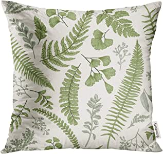 Golee Throw Pillow Cover Green Leaf Floral in Vintage Style Leaves and Herbs Botanical Boxwood Seeded Eucalyptus Fern Maidenhair Decorative Pillow Case Home Decor Square 20x20 Inches Pillowcase