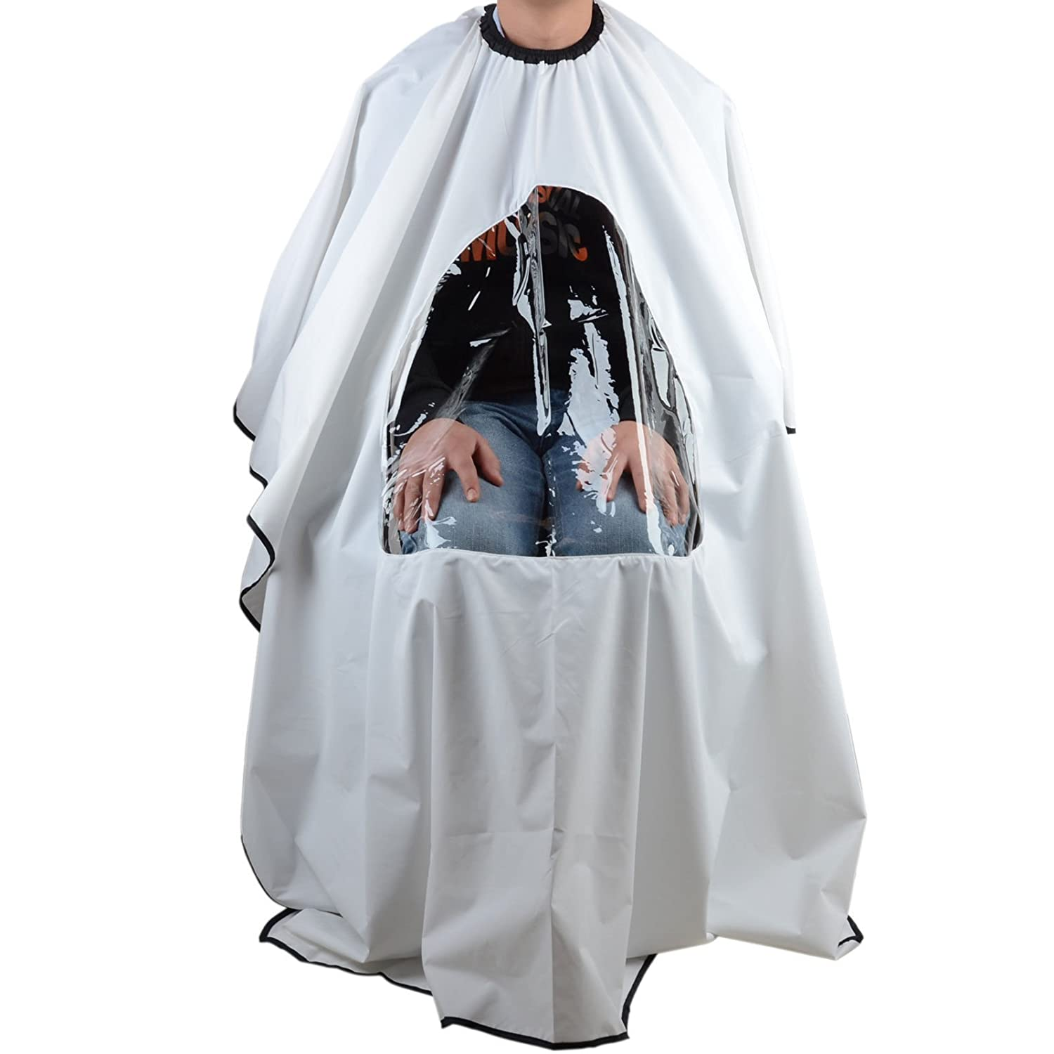 Salon Hair Cutting Cape Hairdressing Gown Viewing Window Wrap - White Generic