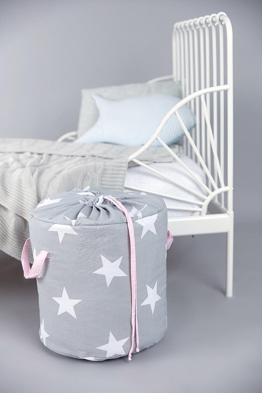 KraftKids Spielzeugkorb große weiße Sterne auf Grau/weiße Punkte auf Rosa