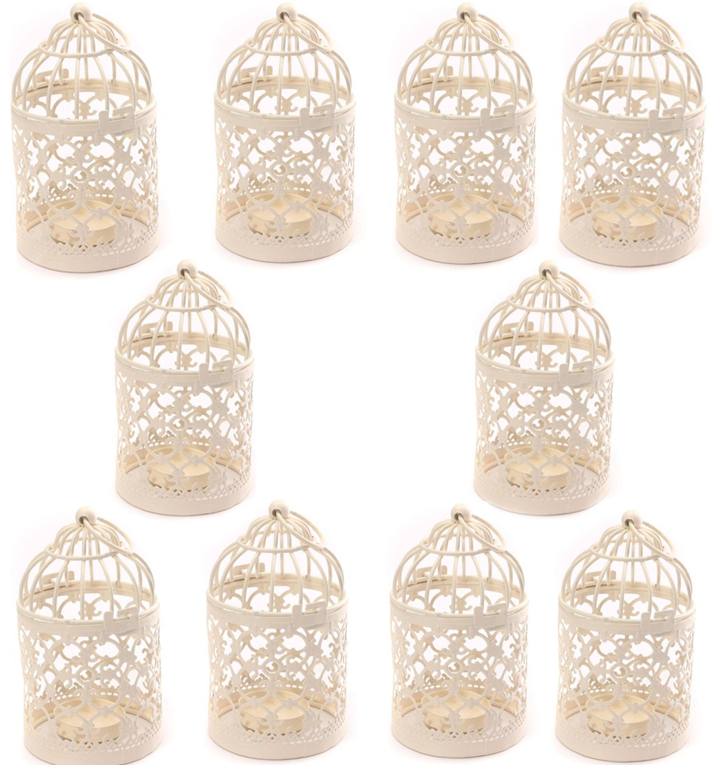 Freedi Metal Candle Holder Centerpiece Decorative Hollow out Birdcage Iron LED Hanging Candlestick Lantern (10Pcs)