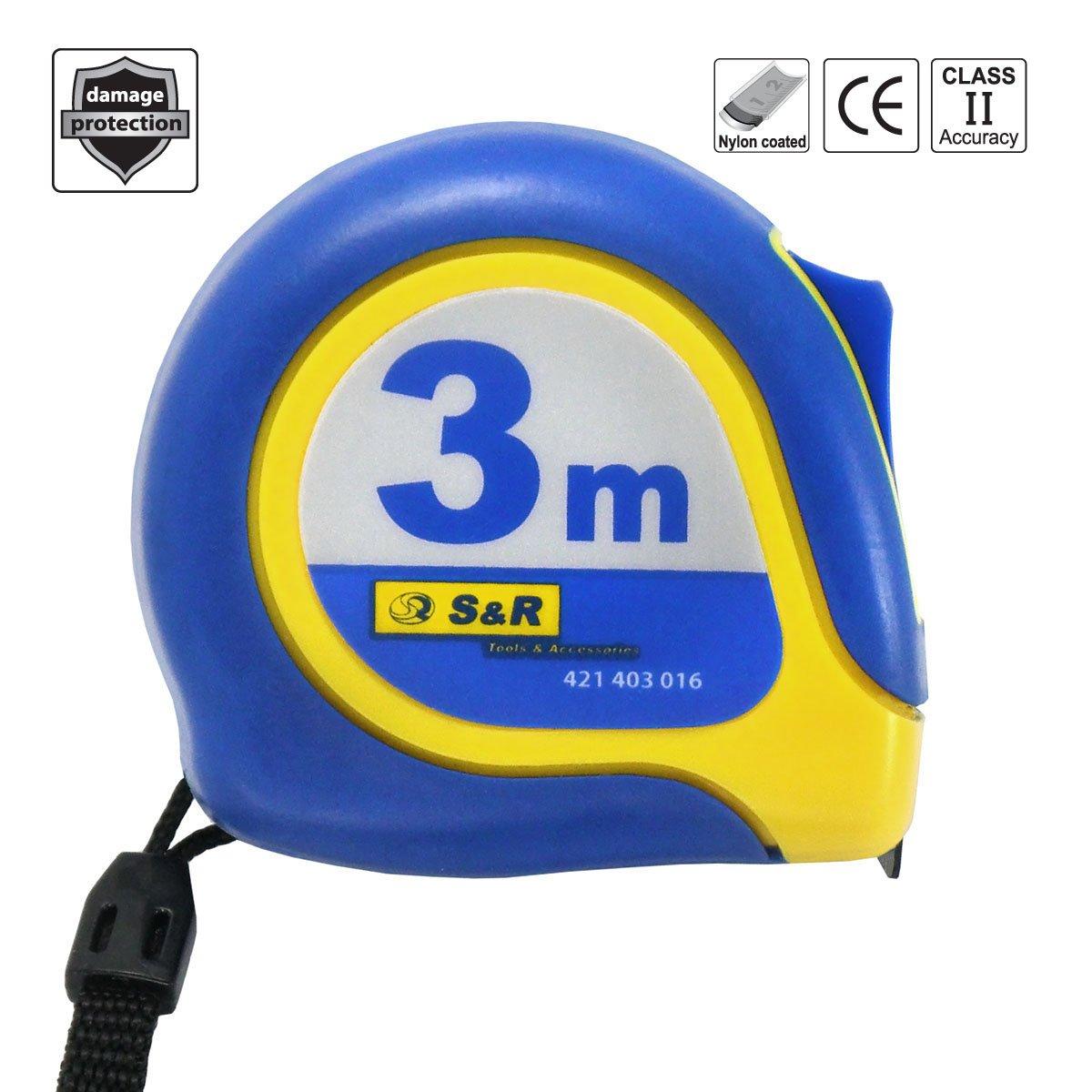 autobloquant professionnel. s/érie FERRO bo/îtier compact en acier inoxydable avec clip ceinture ruban enduit en Polym/ère-nylon S/&R M/ètre ruban /à mesurer 5,0m x 19mm