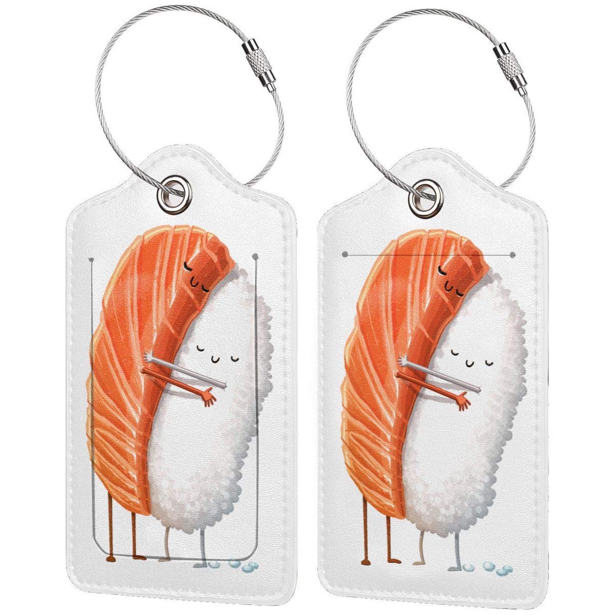 Sushi Hug Travel Luggage Tags With Full Privacy Cover Leather Case And Stainless Steel Loop