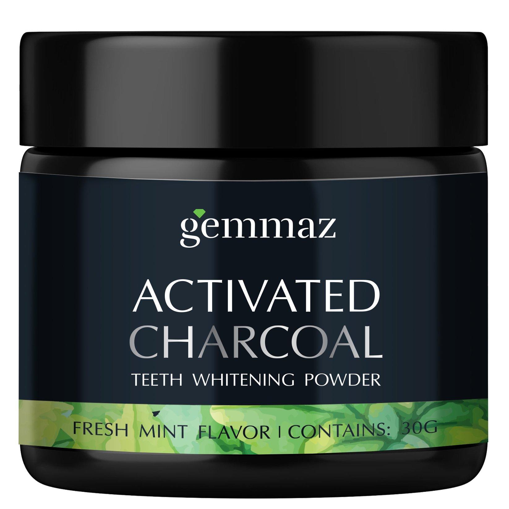 Gemmaz Charcoal Teeth Whitening Powder, Coconut Activated Charcoal Teeth Whitening, Enamel Safe Teeth Whitener for Sensitive Teeth Gums, Fresh Mint Flavor 30g