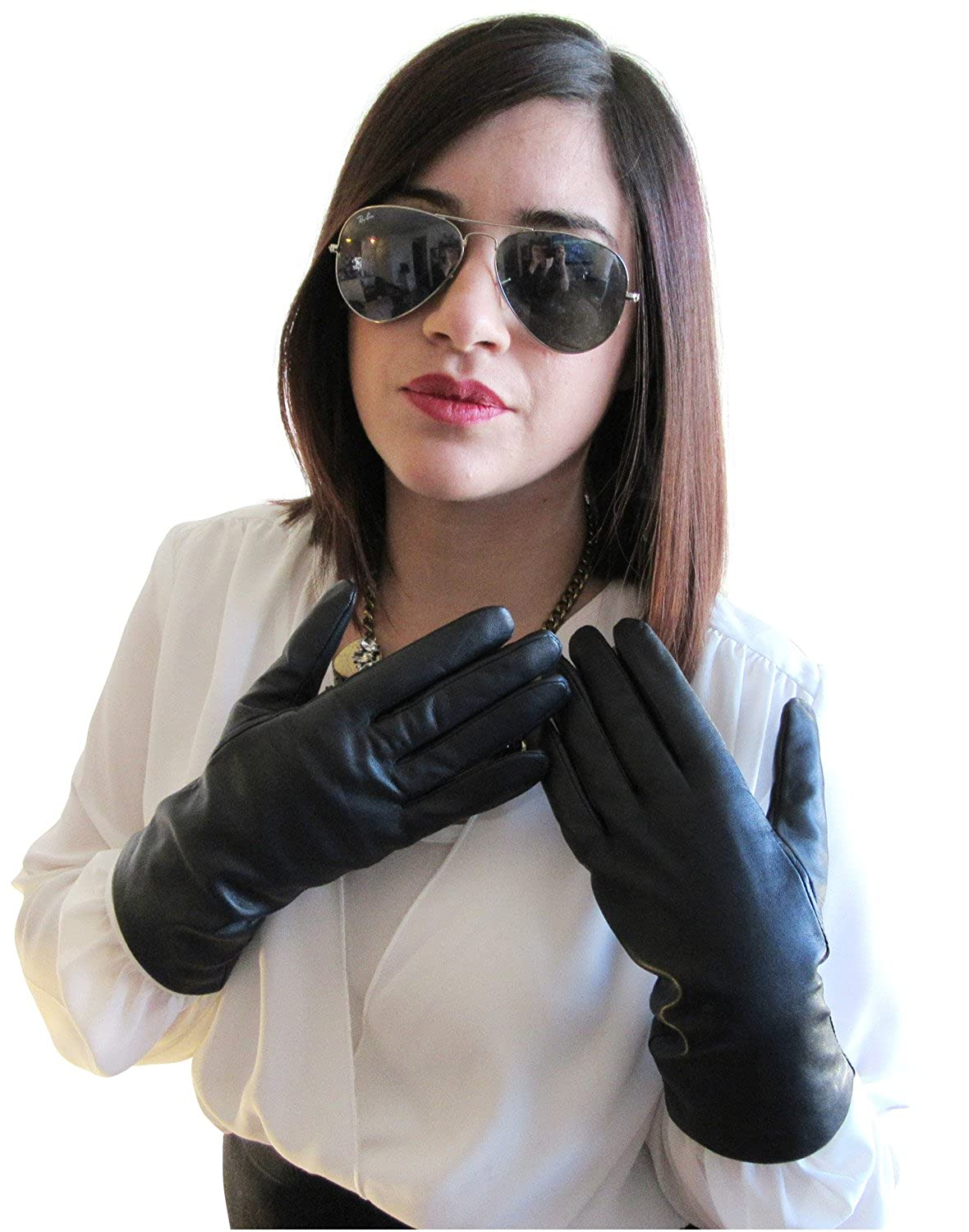 Womens leather gloves purple - Fownes Women S Cashmere Lined Smart Black Lambskin Leather Gloves 6 Xs At Amazon Women S Clothing Store