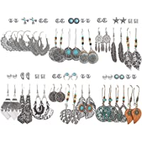 36 Pairs FINETOO Fashion Drop Dangle Earrings Set for Women Girls Vintage Statement Earrings with Pearl Leaf Turquoise Inlay for Birthday/Party/Christmas Gift
