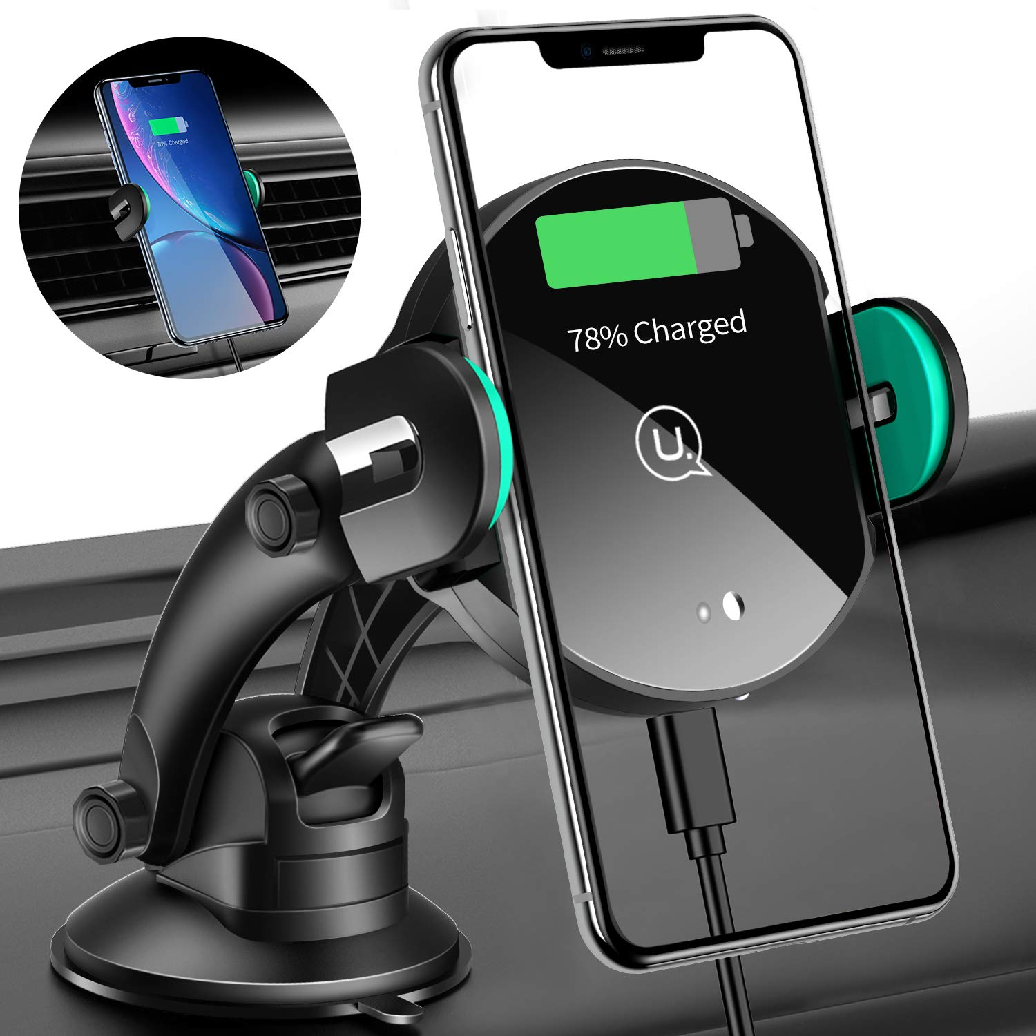 Wireless Car Charger USAMS 10W Qi Fast Charging Mount with Infrared Auto Clamping Windshield Dashboard Air Vent Phone Holder for iPhone X/XR/XS Max/8/8 Plus Samsung Note 9/8 S10/S10+/S9+ S8+ (Black2)