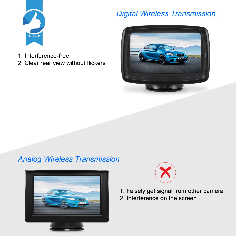 AUTO-VOX TD-2 Digital Wireless Reversing Camera IP68 Waterproof Backup Camera Stable Signal Reverse Camera Kit with Night Vision Car Rear View Camera 4.3 LCD Monitor 12V-24V