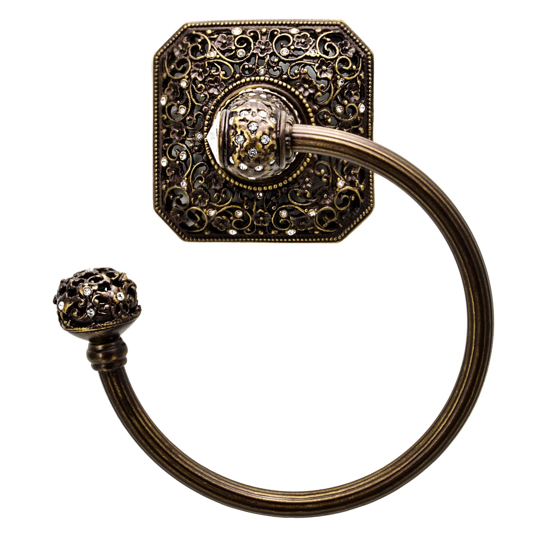 Carpe Diem Hardware 4058-3C Juliane Grace Towel Ring Left Made with Swarovski Crystals, Antique Brass