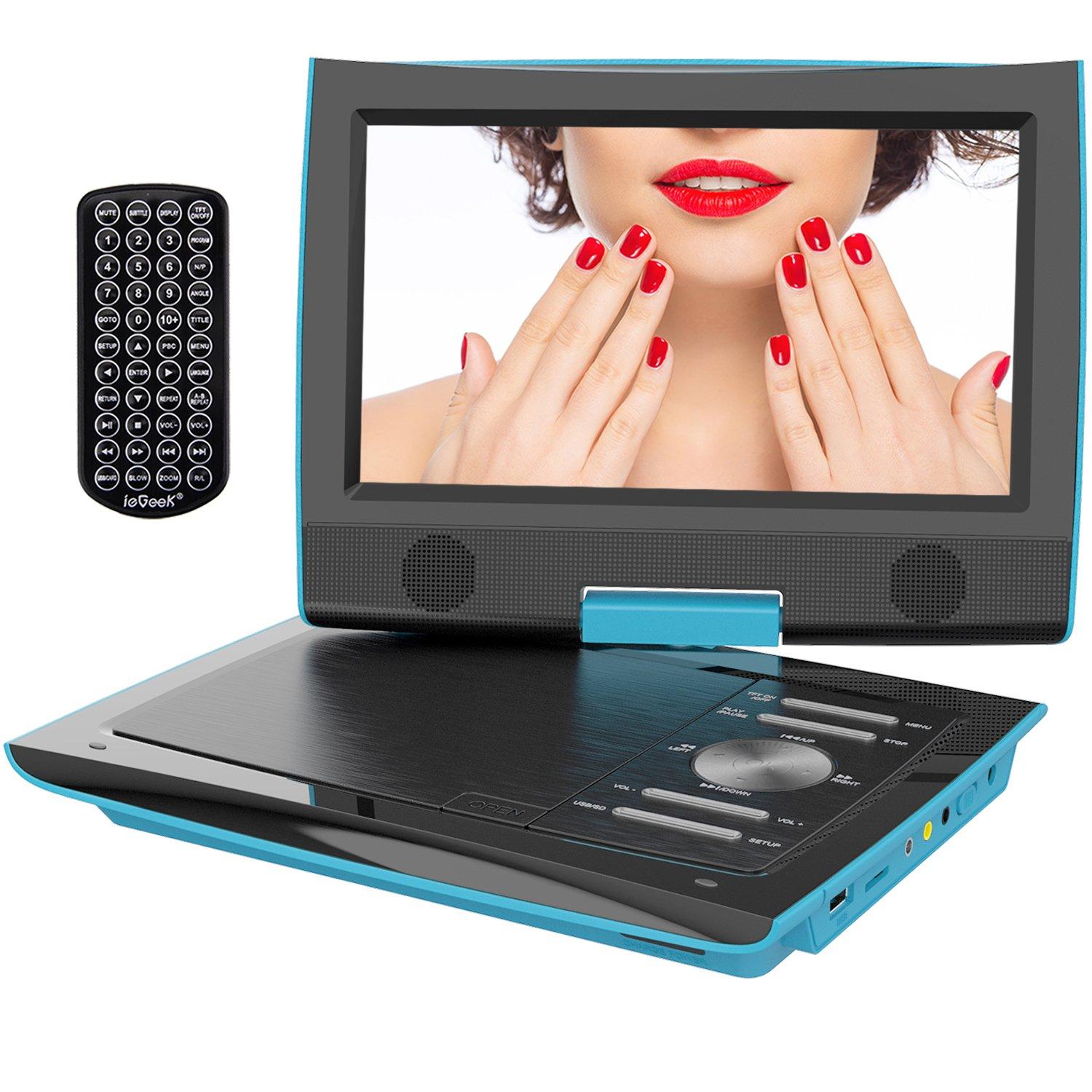 """ieGeek 11"""" Portable DVD Player with 9.5 inch Swivel Higher Brightness Screen, 5 Hours Rechargeable Battery, Dual Earphone Jack, SD Card Slot and USB Port, Blue"""