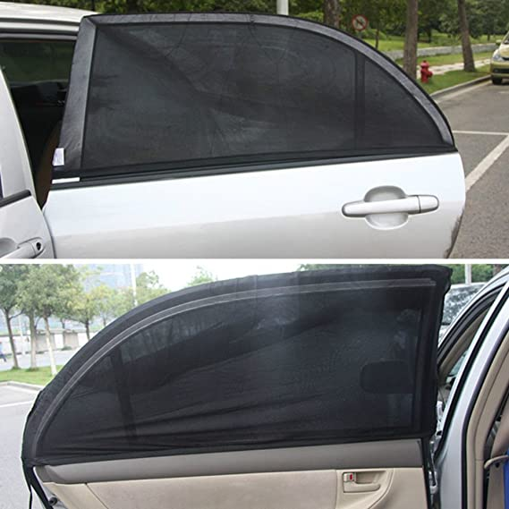 Pack of 4 39 x 19 inch MeiBoAll Black Gauze Net Front and Rear Windows Sunscreen Insulation Net Cover for Most Cars and SUV Car Window Sun Shade
