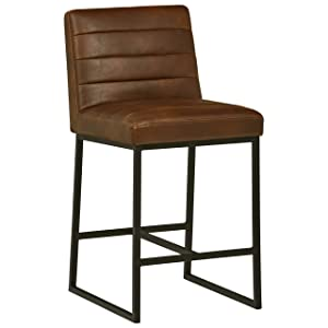 "Rivet Decatur Modern Barstool with Back, 37""H, Brown"