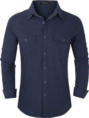 Camisa de hombre de Maroyo, de manga larga, no necesita planchado, ajustada, de un solo color, informal, para hombres: Amazon.es: Ropa y accesorios